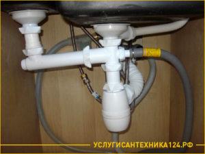 Качественная установка сифона на кухне под раковиной