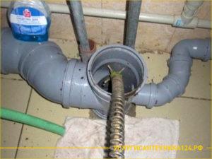 Устранение засора в канализационной трубе